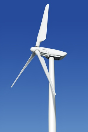 close up wind turbine generating electricity photo