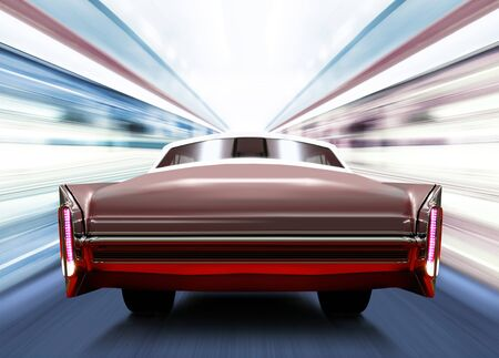 shined: back of old car on luminous high-speed road of night city Stock Photo
