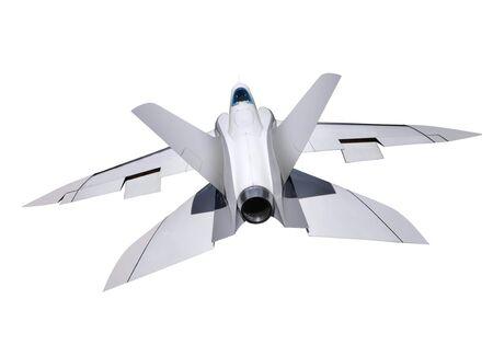 interceptor: white fighter interceptor isolated on white Stock Photo