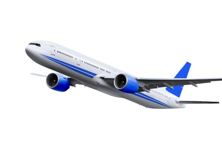 airliner: commercial airplane on white background