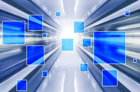 Technology background with transparent geometric shapes. Digital illustration