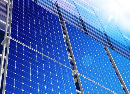 solarpanel: Renewable, alternative solar energy, sun-power plant Stock Photo