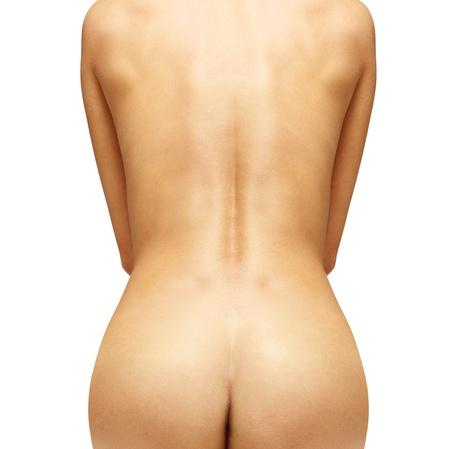 nalga: Close up de espalda de la mujer hermosa con la ruta