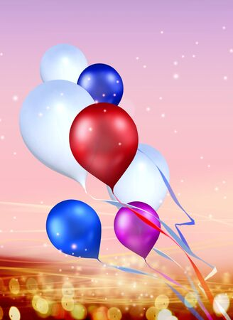 solemnity: toy balloons soaring in the sky Stock Photo