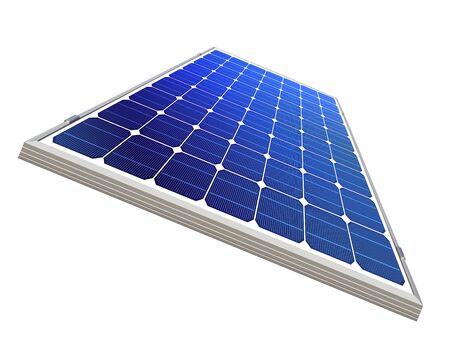 solarpanel: Renewable, alternative solar energy, sun-power plant with path isolated on white background Stock Photo