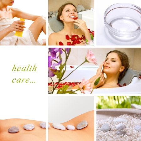 Spa Collage.Dayspa concept composed of different images  写真素材