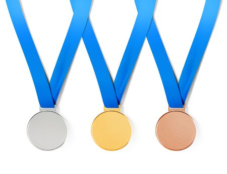 bronze medal: Collection of sports medals on white background with path
