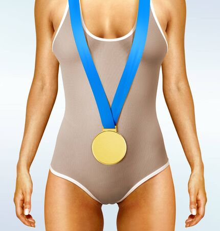 olympian: Part of beautiful woman body wearing gold medal