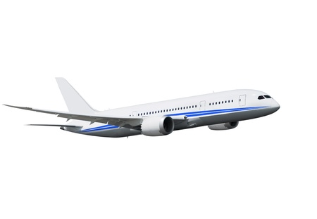 commercial airplane on white background with path  Standard-Bild