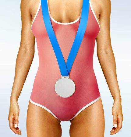 olympian: Part of beautiful woman body wearing sports medal