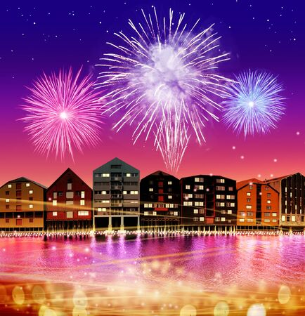 silhouette of fairytale town on night sky with salute Stock Photo - 15688736