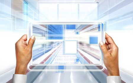 source code: computer background with laptop technologies of the future Stock Photo
