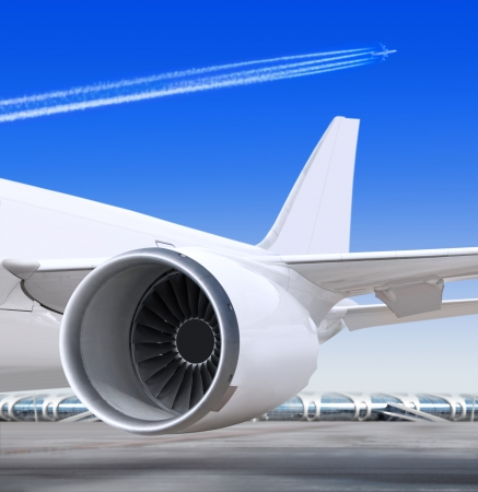 turbine of passenger plane that waiting for departure in airport