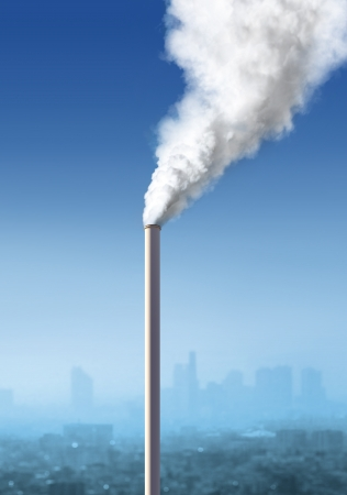 view of atmospheric air pollution from factory, industria landscape photo