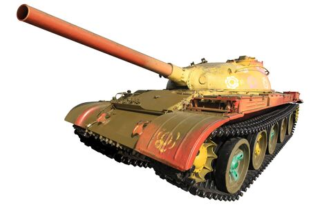 Military Tank Isolated On White Background with clipping path included photo