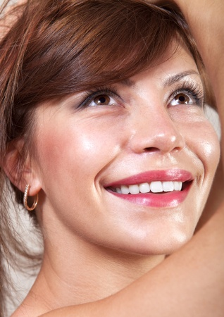 palmy: closeup of beautiful happy woman face that smiling Stock Photo
