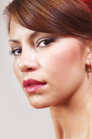 closeup of beautiful face with makeup, cheerful glance Stock Photo - 17289414