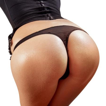 nalga: Primer plano de las nalgas de mujer hermosa con Ducha