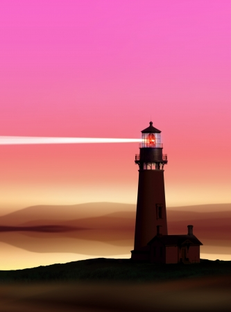 romantic lighthouse near Atlantic seaboard shining at night photo