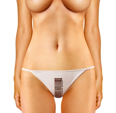 part of woman which is dressed in panties with barcode photo