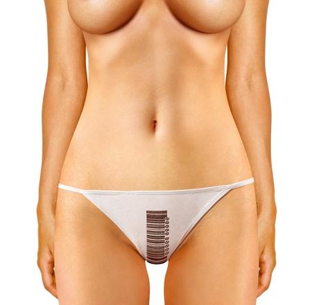 donna sexy: parte della donna che ?estita di mutandine con codice a barre