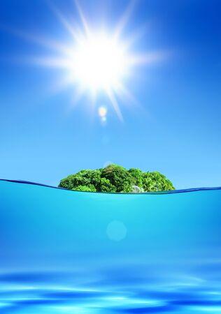 deserted green tropical island under shiny sun in ocean