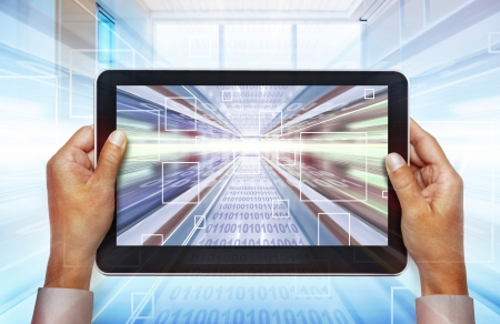 byte: computer background with laptop technologies of the future Stock Photo
