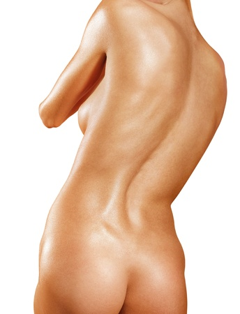 nude woman back: part of back with scoliosis isolated on white background