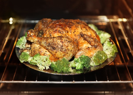 chicken grill: cooking roast turkey and cabbage in the oven