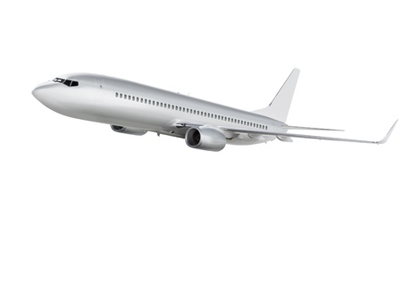 commercial airplane on white background with path
