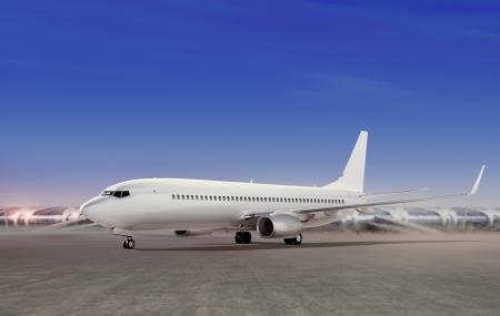 Closeup view of an aircraft preparing to take off  photo