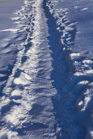 sideway: winter footpath which was trodden by pedestrians in snow