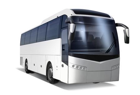 パスを白で隔離される大きな観光バス 写真素材