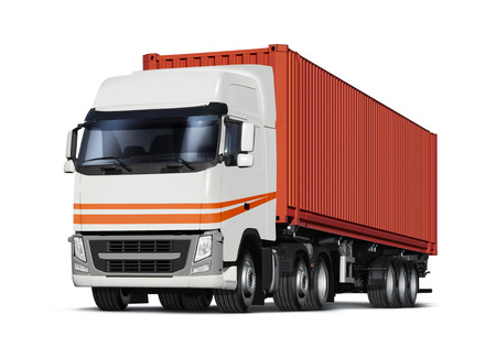 storage container: truck delivers freight in the form of container, isolated with path
