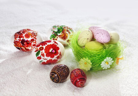ecclesiastical: Painted Colorful Easter Eggs For Easter Stock Photo