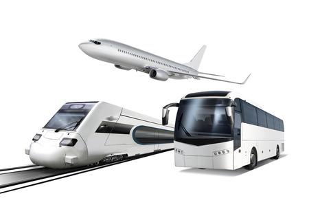 飛行機、電車、バス旅行のための輸送、白で隔離されるのコラージュ