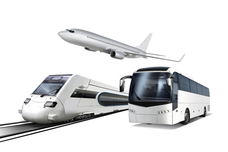 modern train: Collage of plane, train and bus isolated on white, transport for travel Stock Photo