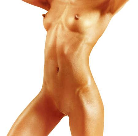 naakt: Close-up van mooie vrouw naakt met pad, geïsoleerd op witte achtergrond Stockfoto