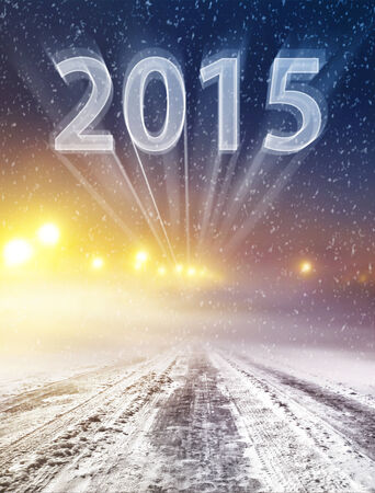 leading the way: Coperto di neve modo inverno leader nel nuovo anno Archivio Fotografico