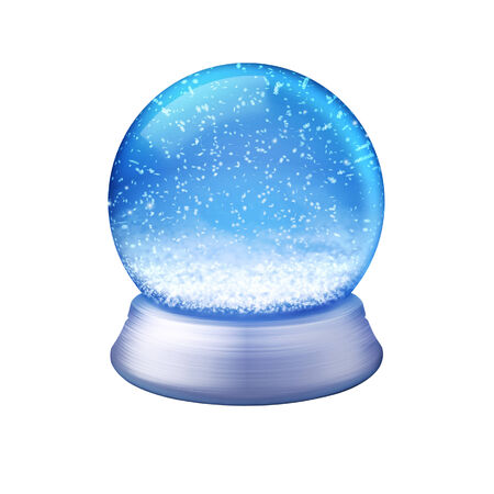 Realistic illustration of an empty snow globe on white