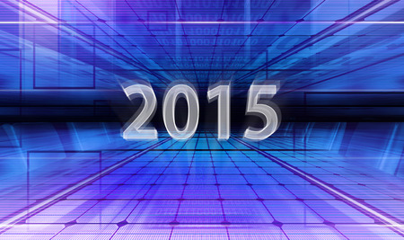 Technology background with transparent figures 2015 for New Year