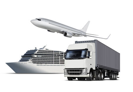 cartage: Collage of plane, ship and truck isolated on white Stock Photo