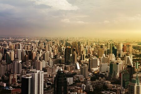 viewport: Aerial view of streets and buildings, Bangkok City. Thailand.