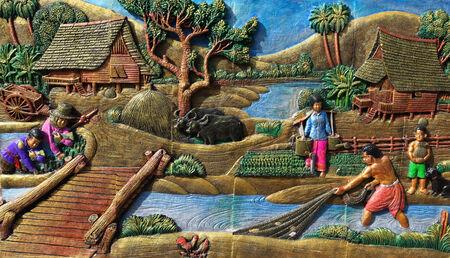 native culture: Native culture Thai stucco in Thailand. Art of bas-relief Editorial