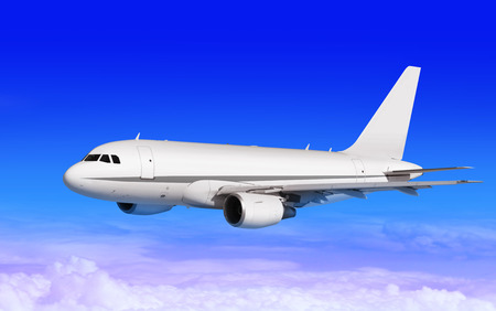 airpower: cargo plane on blue sky with white clouds Stock Photo