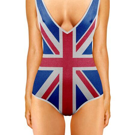 girls underwear: cuerpo de la mujer en traje de ba�o como bandera brit�nica en el fondo blanco