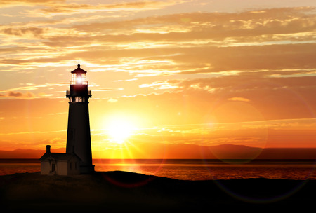 Lighthouse searchlight beam near ocean at sunset Stok Fotoğraf