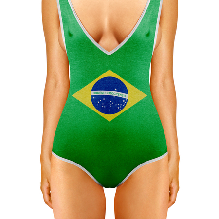 sweatsuit: body of woman in swimwear like Brazilian flag on white background