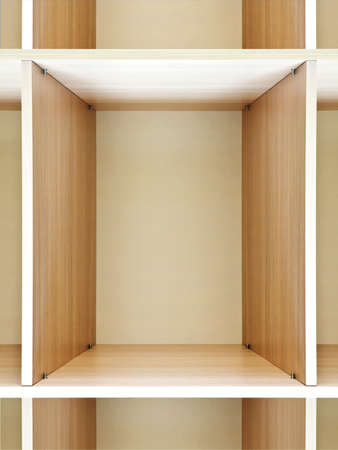 forepart: empty wooden shelving on the department store Stock Photo