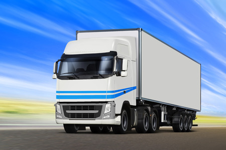 White truck moving on road, cargo transportation Stock Photo